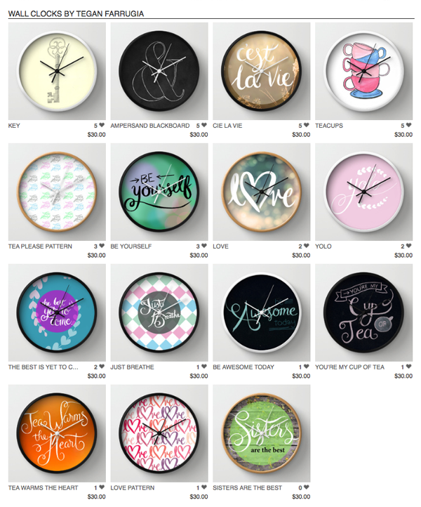 teganmg wall clocks